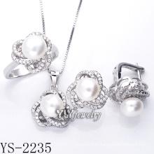 Modeschmuck Zuchtperlen Set 925 Silber (YS-2235)