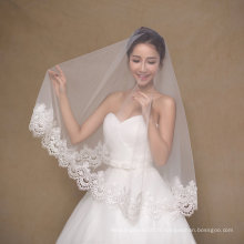 One Layer Short Ivory Wedding Veil with Wide Edge