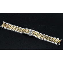 Golden Silver Stainless Steel Watch Bracelet Strap