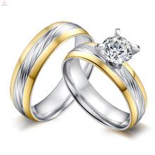 2018 nouveaux ensembles de bague de mariage en acier inoxydable personnalisé AAA Zircon 316L