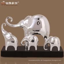 home decour elegante silberne farbe elefanten skulpturen im gruppenentwurf