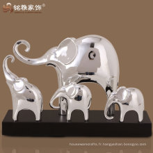 Décoration domestique élégante en couleur argent éléphant sculptures en groupe