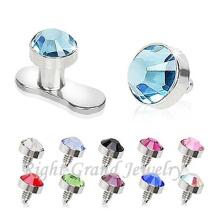 G23 Titanio Base de diamantes de imitación joyería ancla cutánea