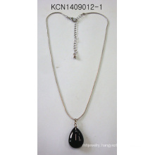 Metal Plated Necklace with Black Stone Pendant
