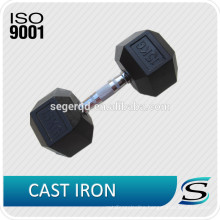 Cast iron rubber hex dumbbell