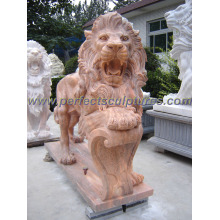 Carving Stone Marble Lion Statue Animal for Garden Sculpture (SY-D055)