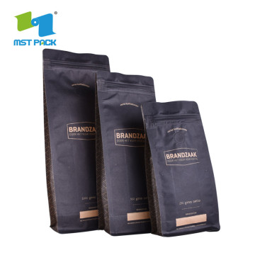 Custom Printed Coffee Packaging Flat Block Bottom Pouches