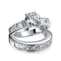 Sterling Silver 2CT Round CZ Princess Engagement Ensemble anneau de mariage