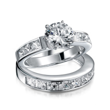 Sterling Silver 2CT Round CZ Princess Engagement Wedding Ring Set