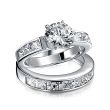 Стерлинговый серебристый 2CT Круглый CZ Принцесса Обручальное кольцо для обруча