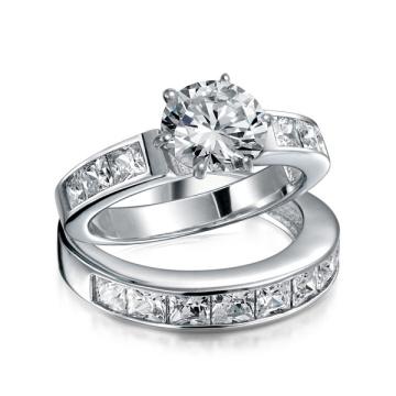 Sterling Silver 2CT Round CZ Princess Engagement Wedding Ring Set