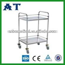 hospital used stainless steel two shelf metal cart