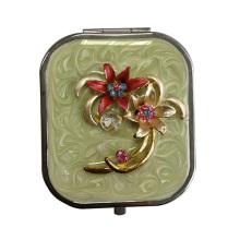 Flor diseño espejos de maquillaje con esmalte verde
