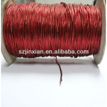 Red PET metallic braided thread