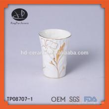 Taza con diseño de pintura de mano, taza de cerámica blanca decorar con borde de oro