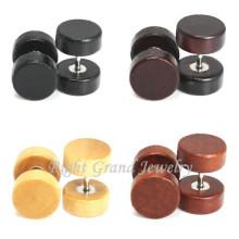 12mm organische Ohr Piercing braun Farbe gefälschte Stecker Holz