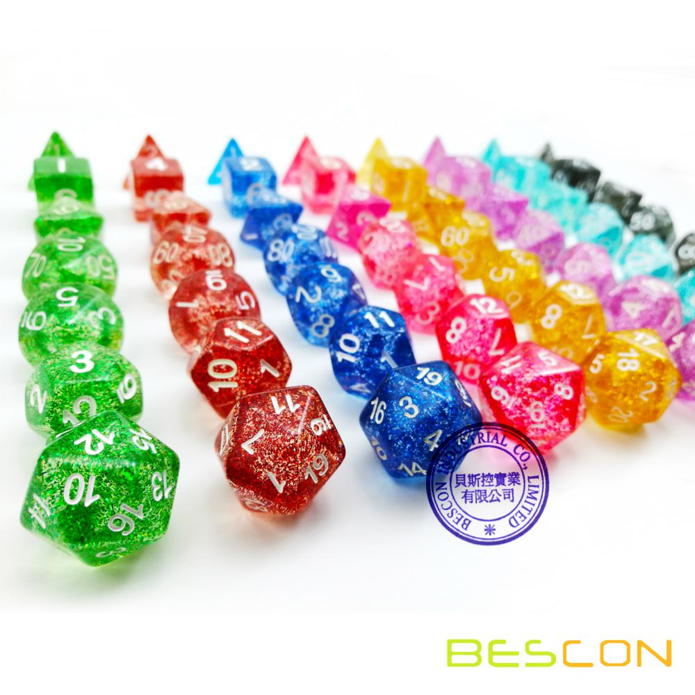 Bescon Assorted Colored Glitter Polyhedral Dice set of 7pcs, Glitter RPG Dice Set