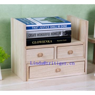 Organizador de escritorio de madera de oficina con 3 cajones y múltiples estantes / estantes para accesorios de escritorio