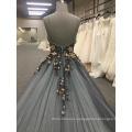 Sleeveless elegant wholesale flower strap black backless 2018 evening dresses