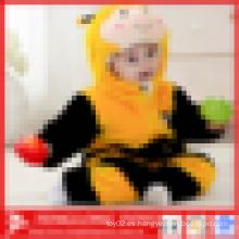 Promocional Invierno cálido llano Plush mameluco animal del bebé de la abeja de la forma de la felpa, mamelucos del invierno de los cabritos