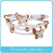 Pulseira de couro trançado de ouro rosa pulseira de aço inoxidável Botão de pressão trançado de couro rosa para pulseira de couro