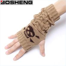 Guantes de mujer sin dedos, guantes de punto de invierno caliente