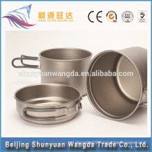 popular three-piece set titanium dinner-set for pot cup and small bowl