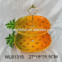 2016 luxurious double-deck ceramic dinner plate in pineapple shape