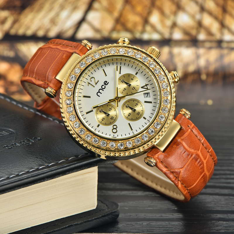 stainless steel back water resistant leather women wrist watch