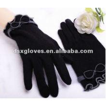 Guantes de cachemira negro de moda para las mujeres