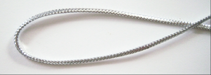 braided silver metallic elastic cord