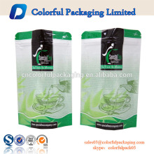 300g Tea packing bag with tear notch/zipper/Custom plastic zip lock bag for tea with window