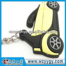 Mais barato famoso carro logotipo PVC gravado Keychain para presente