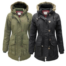 Montana New Womens Military Parka Faux Furs Trim Hood