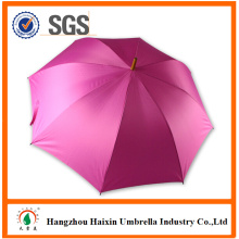 Pink Color Standard Size Carved Wooden Handle Umbrella