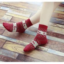 Christmas Snowflake Deer Design Womens Warm Winter Cute Comfortable Wool Socks (C-8)