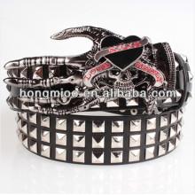 Европейский стиль Череп стороны неподдельной кожи ремень ghoul рука металлическая пластина пряжка монстр рок