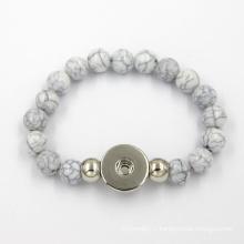 Bouton en acier inoxydable Bracelet en silicone à la mode