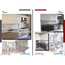 Cabinet de cuisine modulaire avec poignée intégrée en aluminium, porte en bois et laquée
