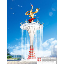 Outdoor Crane Fountain Sculpture