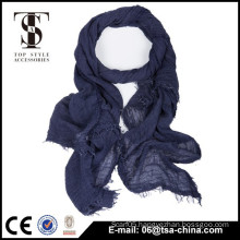 Blue plain color fashion normal design spring thin scarf with very soft hand feel
