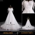 De alta qualidade estilo coreano luva mangas casamento vestido bordado vestido de noiva com contas 2016