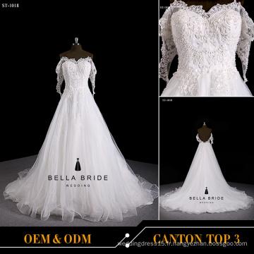 Manteaux en dentelle style coréenne de haute qualité robe de mariage broderie robe de mariage en perles 2016