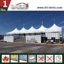 Tente à deux étages à deux étages avec un mur de verre comme tente d'exposition
