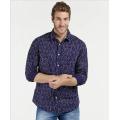 Camisas estampadas de manga larga casual 100% algodón para hombre
