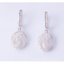 925 plata esterlina delicado blanco CZ joyas pendientes