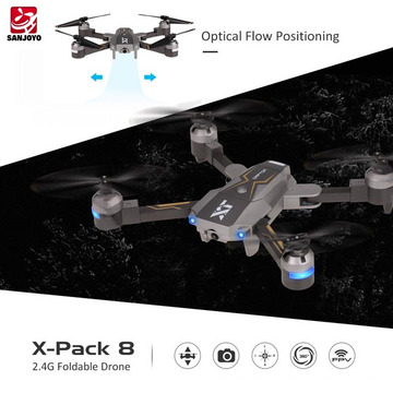 Attop 720P wide angle Wifi Camera Drone plegable Altitude Hold Flujo óptico Posicionamiento Quadcopter AR modo de juego SJY-X-Pack8