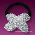 fashion metal silver plated crystal flower shape hair rubber band