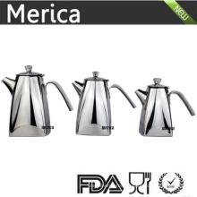3 Tamanho Aço Inoxidável Trapezoid Chá e Wattle Pot com Lábio Grosso