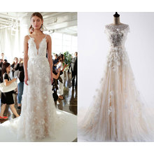 Vestido de boda de la manera del Neckline del barco de la flor 3D
